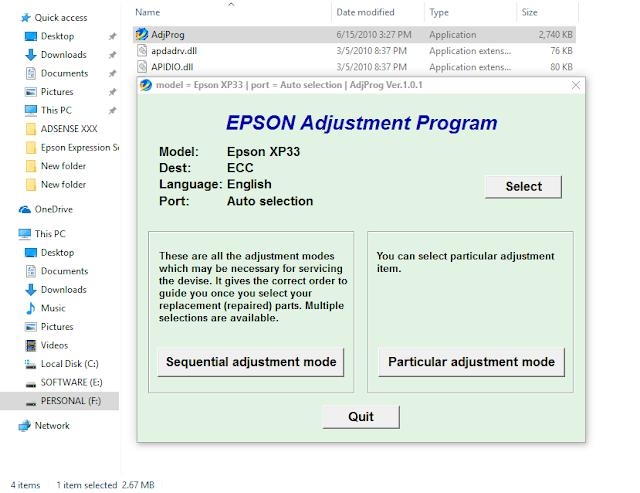 Epson Expression Home XP-30 Adjustment Program