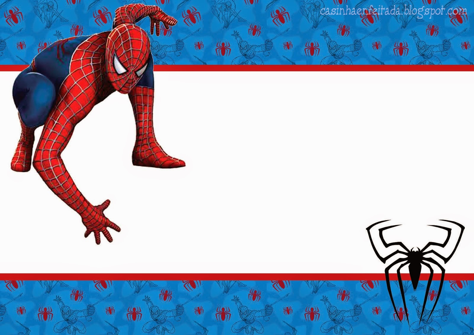 image about Printable Spiderman Invitations named Spiderman blue record: Totally free Printable Package. - Oh My
