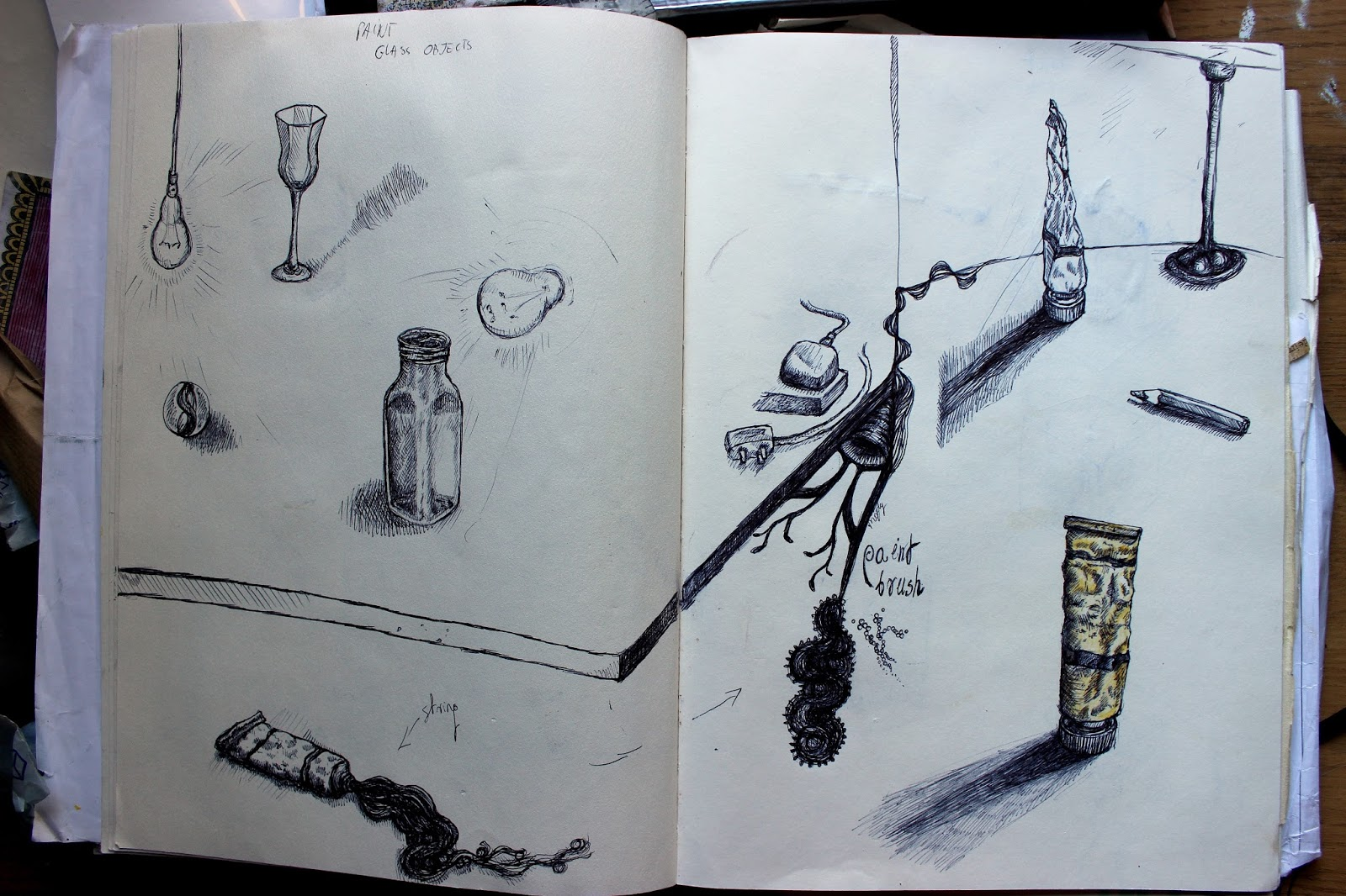 Drawing Sketch Illustration Pencil Sketchpad Notebook Ink Still Life Paint Tubes