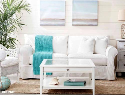 Coastal Beach Ble Knit Blanket