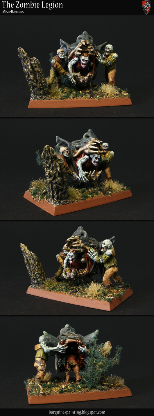 2 zombie miniatures holding a detached Terrogheist head so that the third zombie can stick his head through the monster's mouth. A kitbashed unit filler for Warhammer Fantasy Battle (WFB), 60x40mm