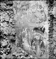 Frescoes (late 13th century) from the Church of Agia Euphemia, January 1940. The ruins of the temple were discovered during the demolition of the old prison building in the Northwest of the Hippodrome, Istanbul, in 1939.  Artamonoff did not lose the opportunity to record their findings [Credit: © Nicholas V. Artamonoff Collection, Image Collections and Fieldwork Archives, Dumbarton Oaks]