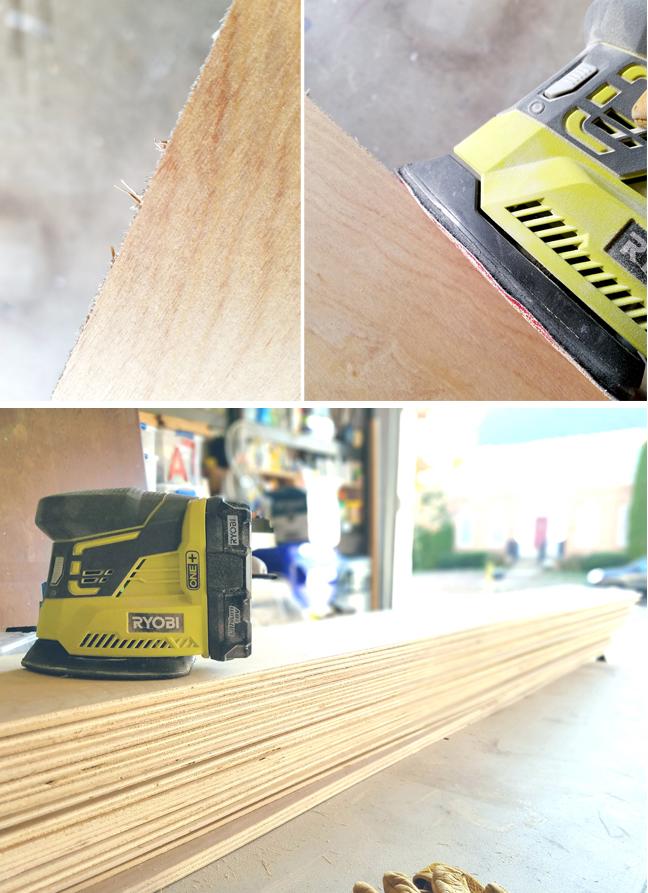 sandind thin plywood with Ryobi cordless sander
