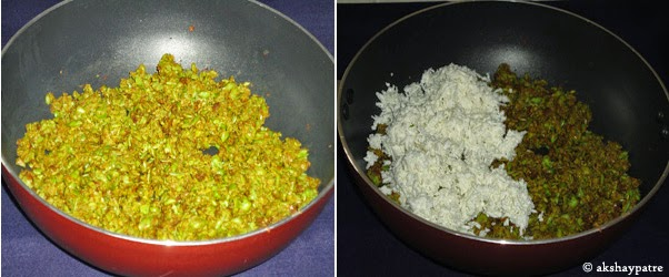 paneer added to matar paste