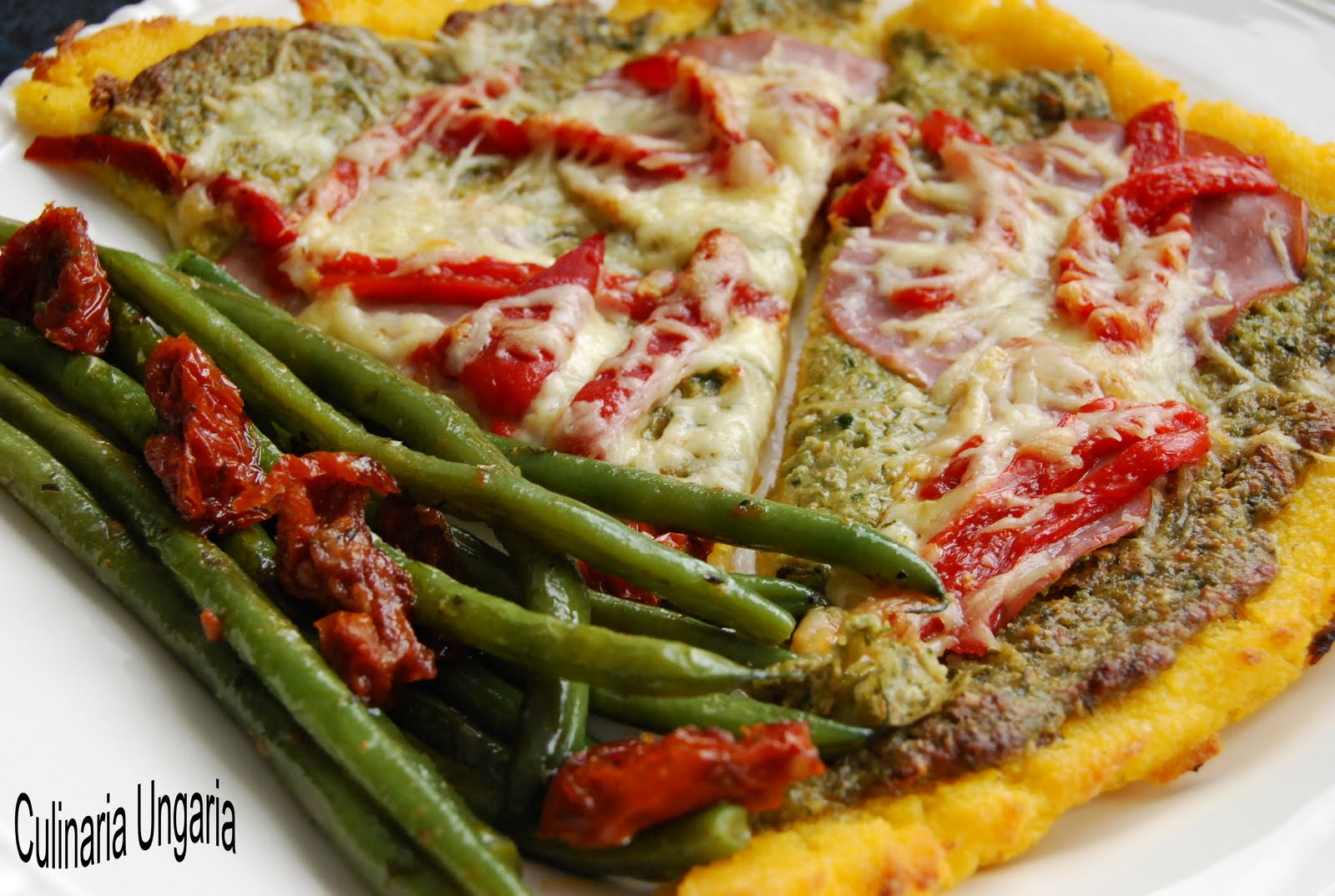 culinaria ungaria polenta pizza mit gr nen bohnen. Black Bedroom Furniture Sets. Home Design Ideas