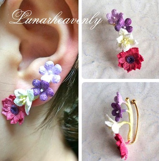 wzory biżuterii z kwiatków szydełkowych