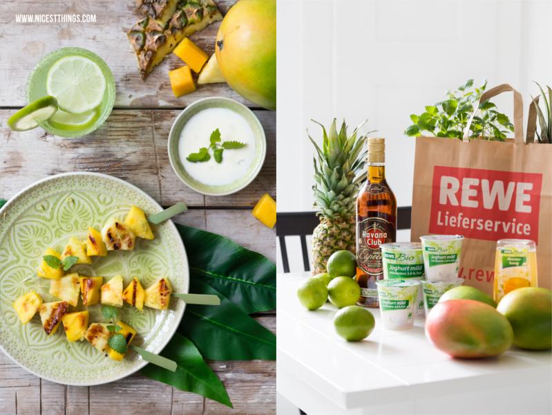 Ananas-Mango-Spiesse mit Zutaten vom REWE Lieferservice