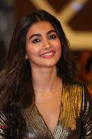 Pooja Hegde looks glamarous in deep neck sleevless short tight golden gown at Duvvada Jagannadham thank you meet function 155.JPG