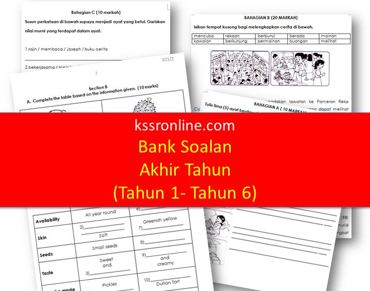 Kssronline Net Kssr Dskp Upsr Linus Bank Soalan Peperiksaan Akhir Tahun 1 Hingga Tahun 6