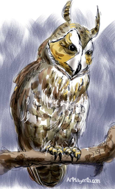 Long-eared Owl sketch painting. Bird art drawing by illustrator Artmagenta