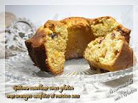 Gâteau moelleux sans gluten aux oranges confites et raisins secs