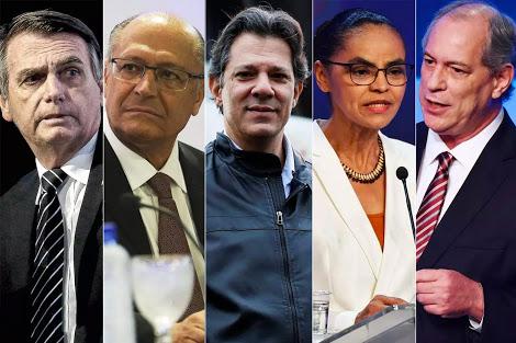 Pesquisa Ibope: Bolsonaro, 26%; Ciro, 11%; Marina, 9%; Alckmin, 9%; Haddad, 8%
