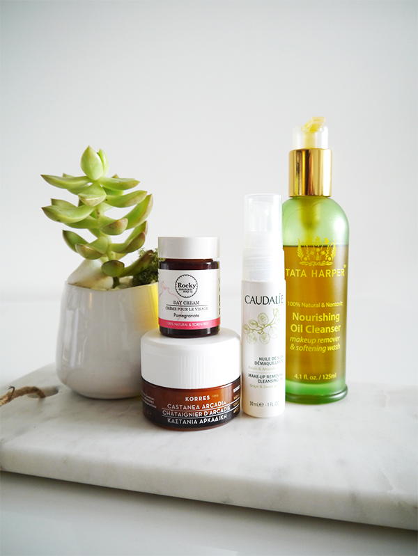 Natural skincare: Korres Castanea Arcadia Wrinkle Rewind Night Cream, Rocky Mountain Soap Co. pomegranate day cream, Tata Harper Nourishing Oil Cleanser, Caudalie makeup cleansing oil