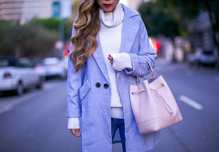 baby blue coat, white sweater, furla bucket bag, blank denim ripped jeans, christian louboutin so kate. Karen walker sunglasses, thanksgiving outfit ideas 2016, thanksgiving outfit ideas, holiday sale, holiday deal, holiday gift shopping 2016, san francisco fashion blog, san francisco street style, pastel outfits