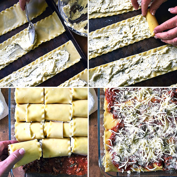 Step-by-step photos of how to make Lasagna Rollups