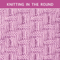 Basketweave Knit Purl in the round | Knitting Stitch Patterns.