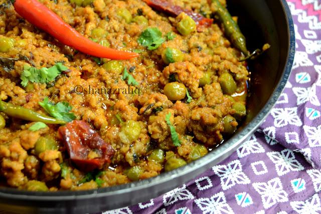 Kadhai Kheema ~ Mutton Mince & Green Peas Curry