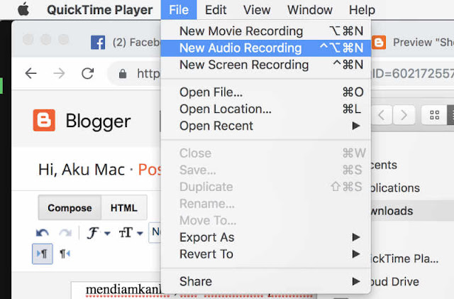 screen recording menu pada QuickTime Player