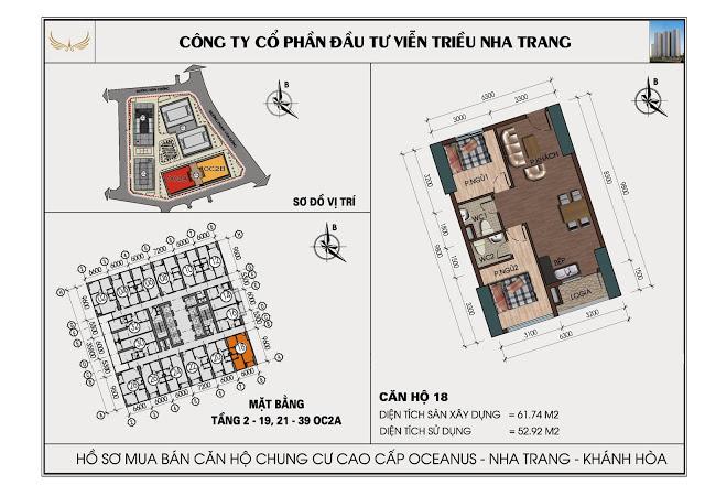 Sơ đồ căn hộ số 18 tòa OC2A Viễn Triều Nha Trang