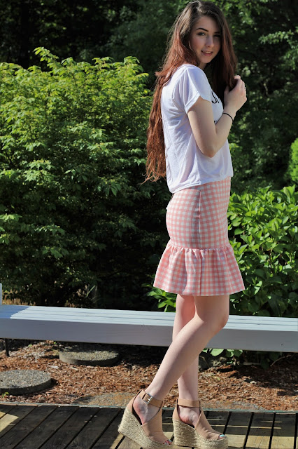 pink ruffle gingham skirt