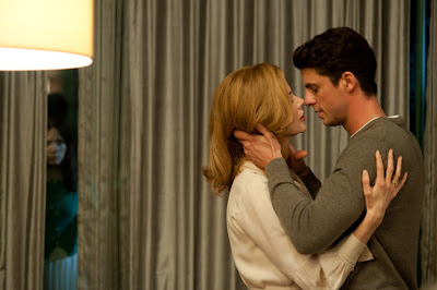 Nicole Kidman as Evelyn and Mathew Goode as Charles, get cozy, romantic scene, in Stoker (2013), Directed by Chan-wook Park