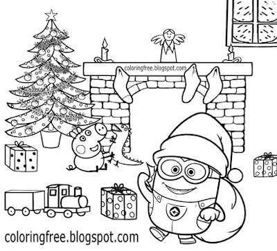 Xmas tree adorable drawing ideas clip art Minion and Peppa pig Christmas colouring in pages to print