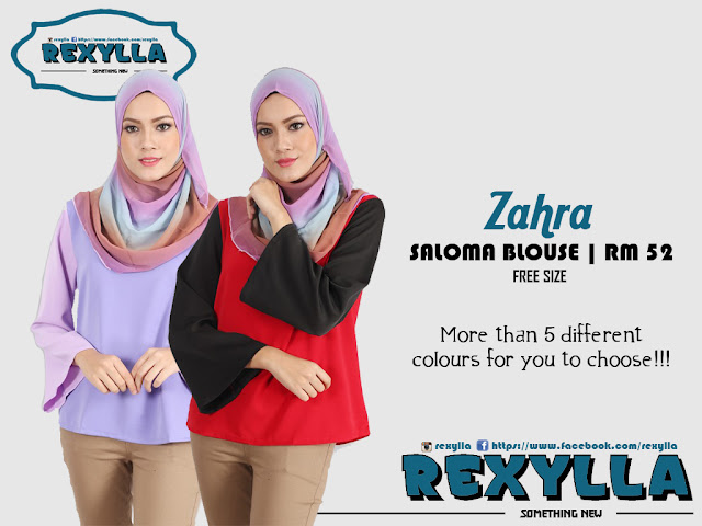 rexylla, saloma blouse, two-tone, zahra collection