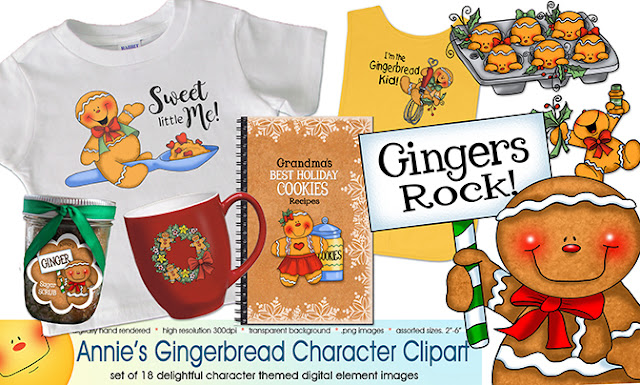 Get Annie Lang's Gingerbread Paper Prints, Gingerbread Cottages and Characters Clip Art