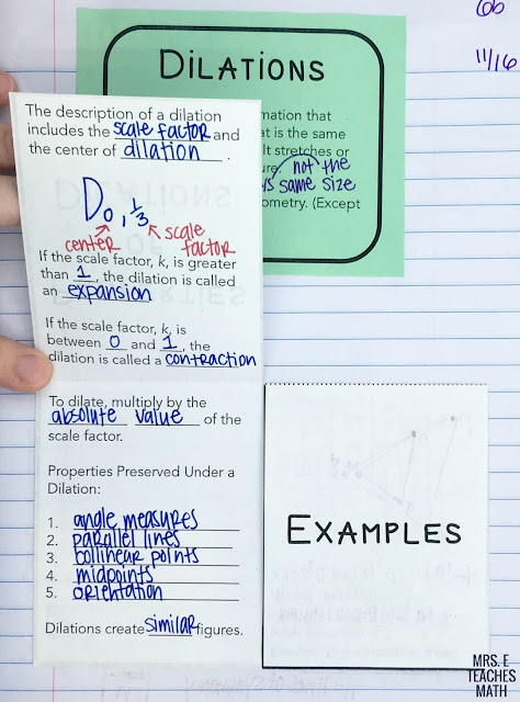 dilations foldable for geometry interactive notebooks