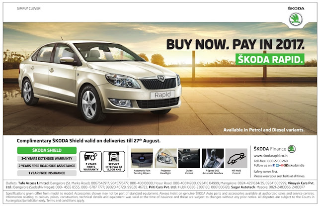 Skoda Rapid Buy Now and Pay in 2017 | August 2016 discount offer