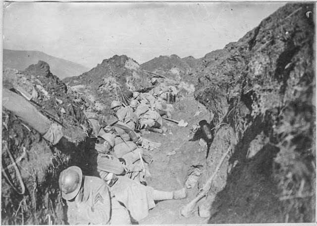 The attack on Hill 1248 near Bitola (Monastir) (16-26 March 1917). First front lines near Bitola: Soldiers sleep after the attack