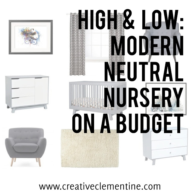 High & Low: Modern Neutral Nursery on a budget (via www.creativeclementine.com)