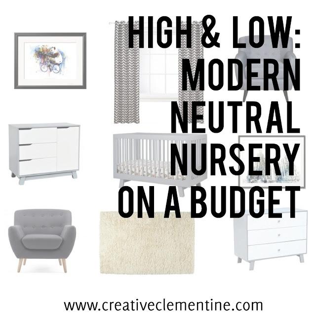 High & Low: Modern Neutral Nursery on a budget (via www.creativeclementine.com)