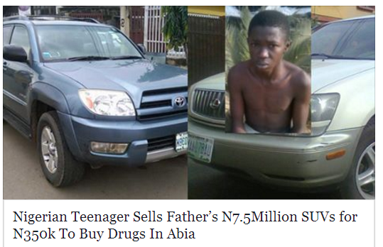 Nigerian Teenager Sold His Father's 2 SUV's A Lexus and a 4runner Which Costs N7.5Million for N350k To Buy Drugs In Abia