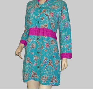 Batik Emboss Modern Wanita Imut Turquoise