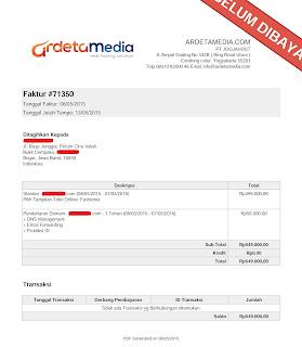 Contoh Invoice dari Ardeta Media (Pemesanan Domain dan Toko Online)