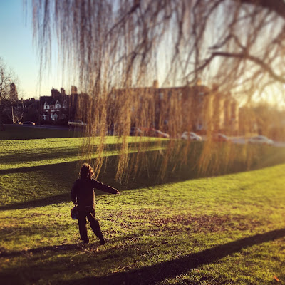 Boy and willow tree