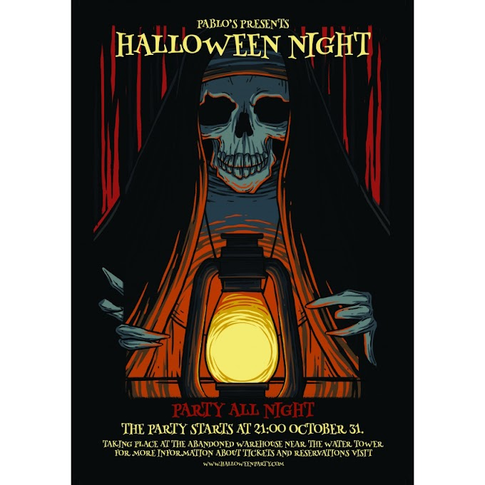 Halloween poster material free PSD template English version