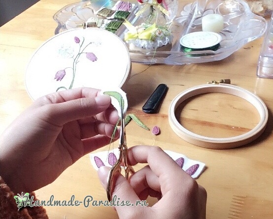 Мастер-класс. Объемная вышивка тюльпаны (24)
