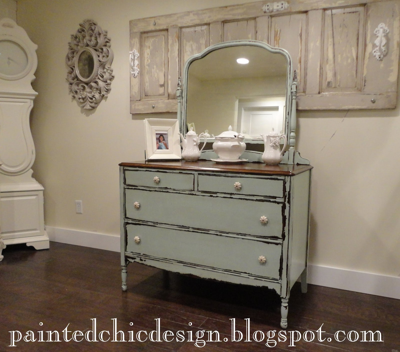 Bathroom Vanities From Old Dressers: The Painted Chic Design: SOLD Antique Dresser With Mirror