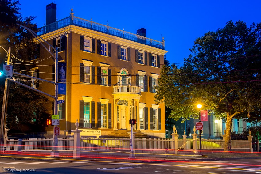 Portland, Maine USA July 2016 photo by Corey Templeton. A nighttime view of the McLellan-Sweat Mansion, at the corner of High and Spring Streets.