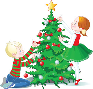 Clipart image of children decorating a Christmas tree