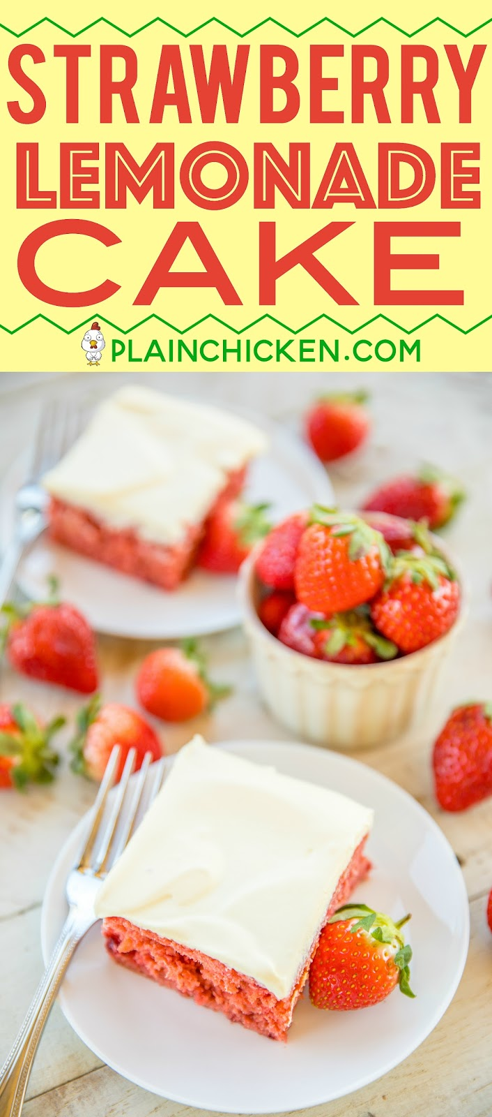 Strawberry Lemonade Cake - lemon cake mix and strawberry pie filling combine to make one amazing dessert!!! Top the cake with a quick cool whip lemon pudding frosting. This cake is the most requested cake I make! I have to bring it to all of the potlucks I'm invited to. It is always the first dessert to go and everyone asks for the recipe! Make it today! #cake #dessert #strawberry #lemonade