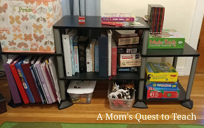 binders, file folders, laptop, bins, bookshelves
