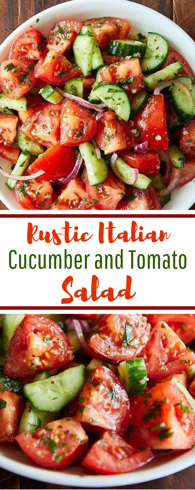 Rustic Cucumber and Tomato Salad #healthy #vegetarian