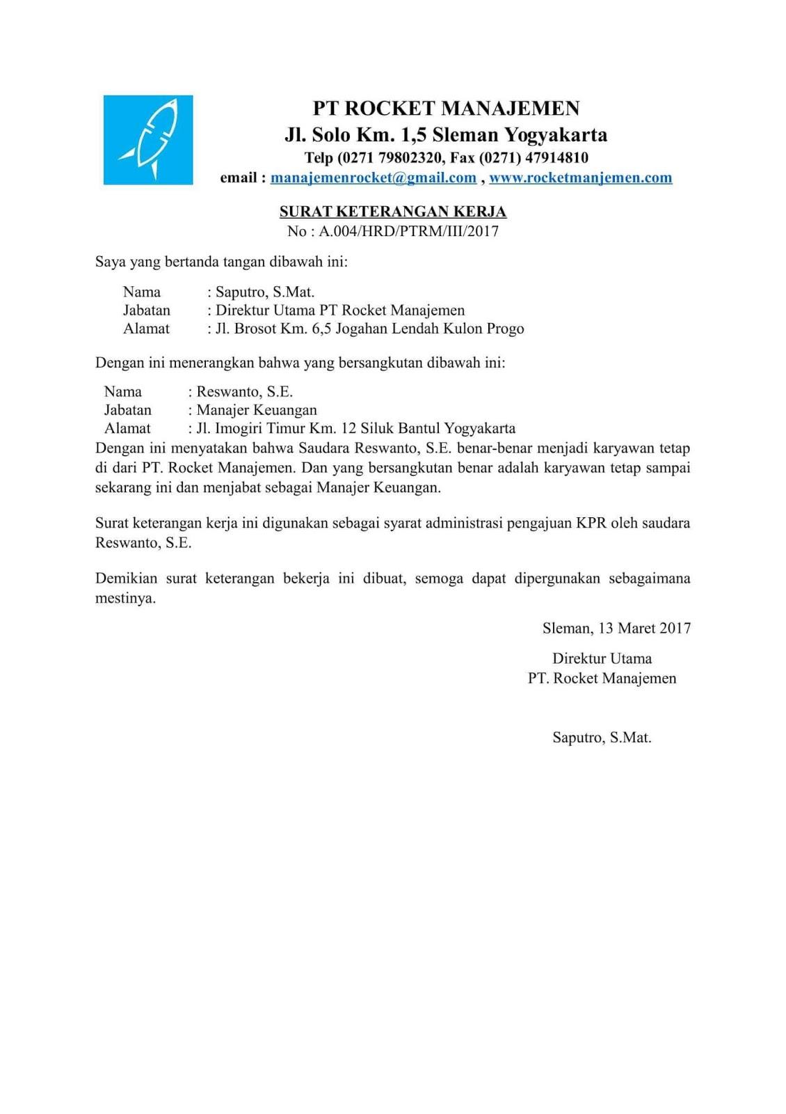 contoh surat keterangan kerjauntuk kpr