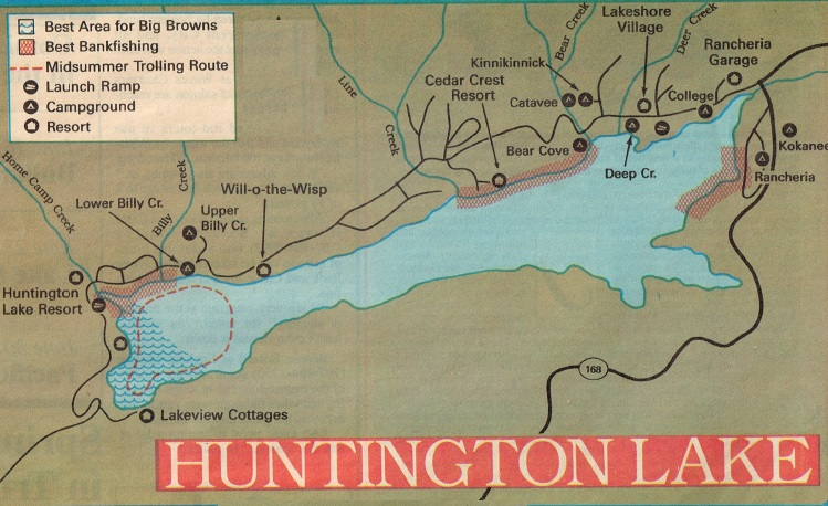 2017 huntington lake fishing map and report how to fish for Huntington lake fishing