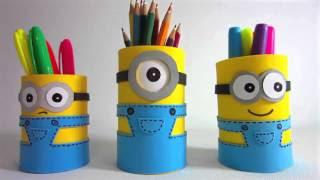 Tempat pensil dari gulungan tisu
