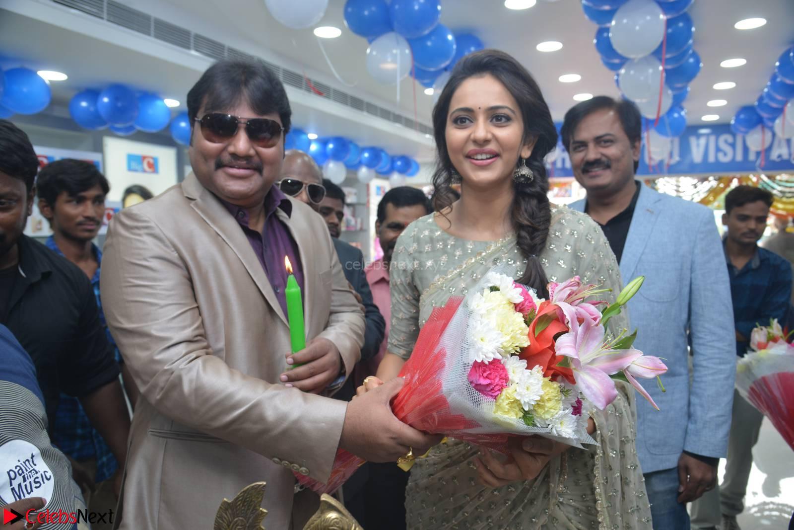 Rakul Preet Singh in a Designer saree at Launch of BIG C Show room at  Kurnool ~ Celebrities Galleries