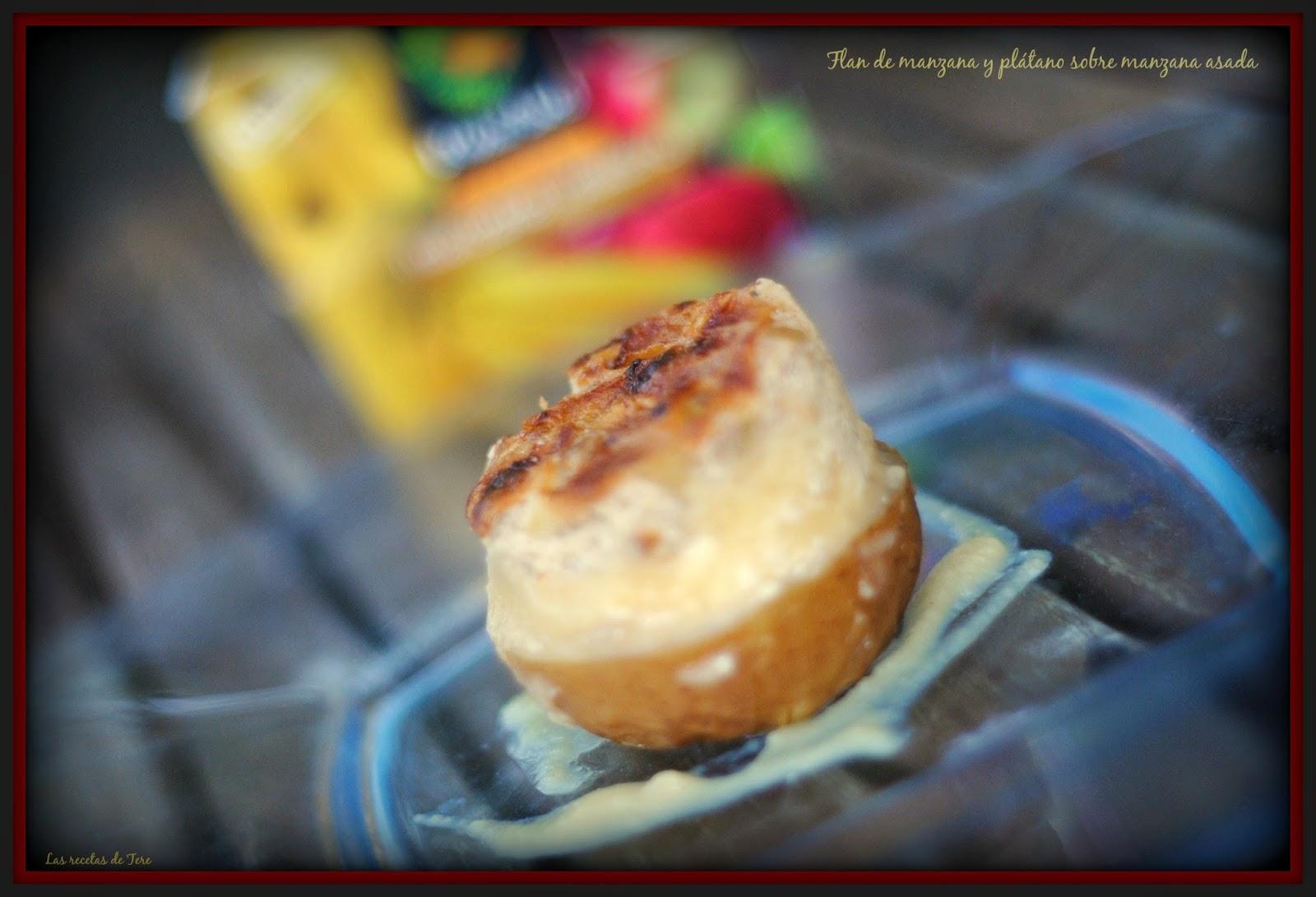 Flan de manzana y plátano sobre manzana asada 07